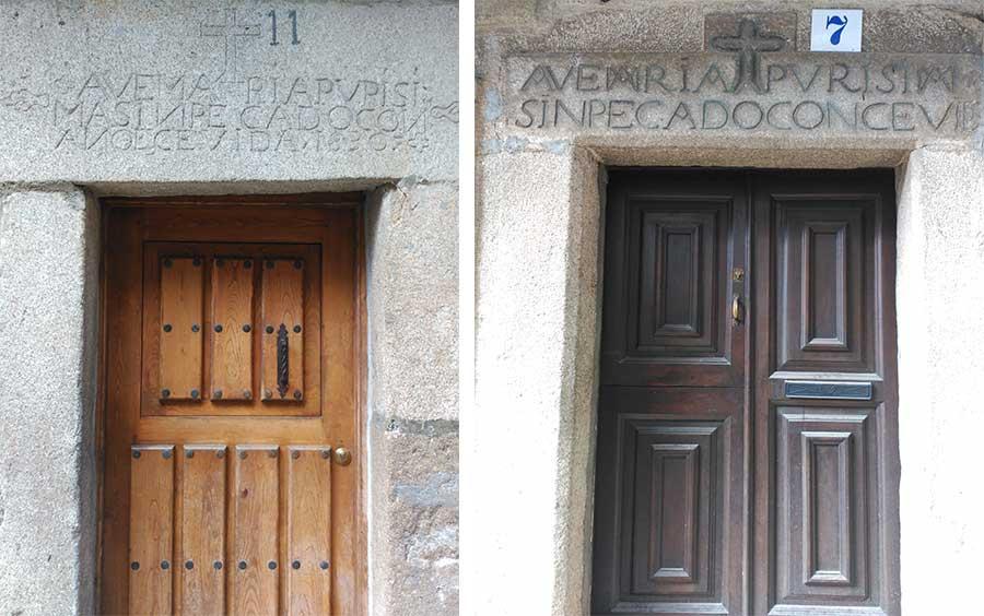 Inscripciones cristianas en los marcos de las puertas en La Alberca.